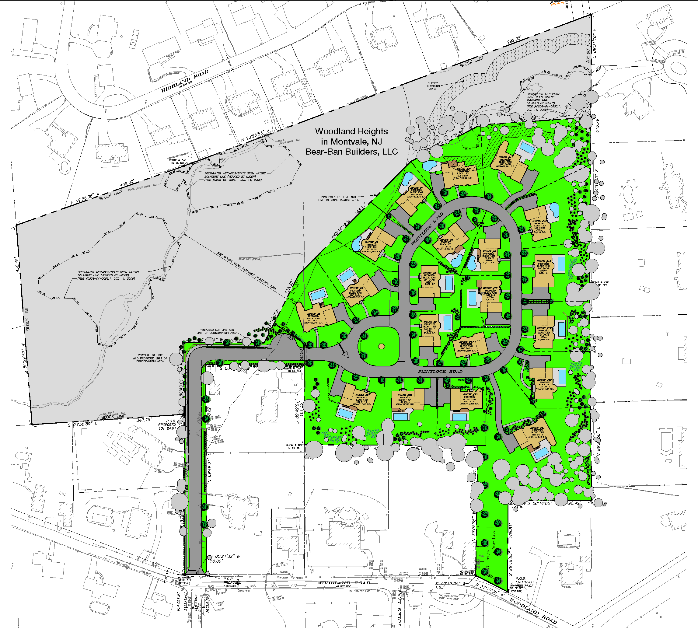 Site Layout of Woodland Heights Development in Montvale, NJ by Bear-Ban Builders, LLC