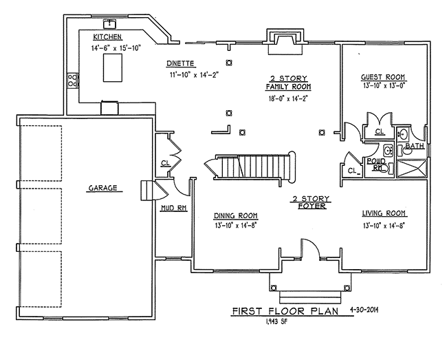 First Floor Plan of 6 Flintlock Road, Montvale, NJ